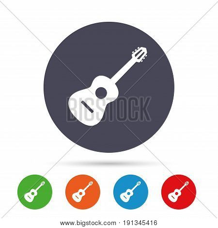 Acoustic guitar sign icon. Music symbol. Round colourful buttons with flat icons. Vector