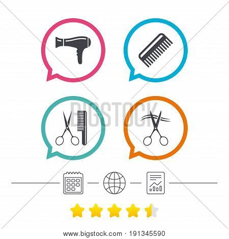 Hairdresser icons. Scissors cut hair symbol. Comb hair with hairdryer sign. Calendar, internet globe and report linear icons. Star vote ranking. Vector