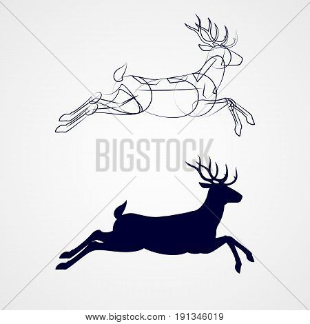 Illustration of Running Horned Deer Silhouette with Sketch Template on Gray