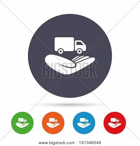 Company vehicles insurance sign icon. Hand holds delivery truck. Protection vehicle from damage and accidents. Round colourful buttons with flat icons. Vector