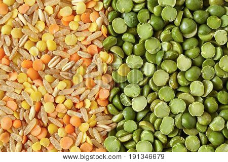 Mix Of Green Split Peas Lentils And Rice