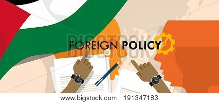 Palestine foreign policy diplomacy international relations between country in the world concept vector
