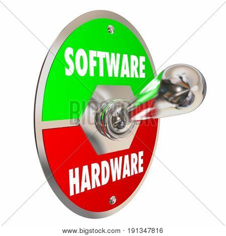 Software Vs Hardware Toggle Switch Change On Off 3d Illustration
