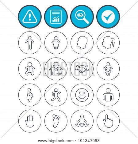 Report, check tick and attention signs. Human icons. Male and female symbols. Infant toddler and pregnant woman. Happy smile face. Success deal handshake. Investigate magnifier symbol. Flat buttons