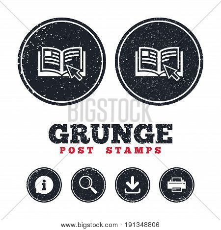 Grunge post stamps. Instruction sign icon. Manual book symbol. Read before use. Information, download and printer signs. Aged texture web buttons. Vector