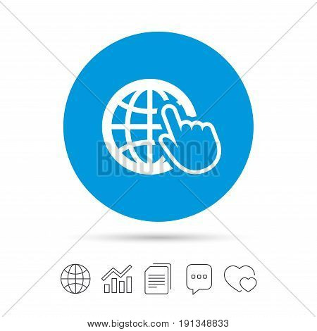 Internet sign icon. World wide web symbol. Cursor pointer. Copy files, chat speech bubble and chart web icons. Vector
