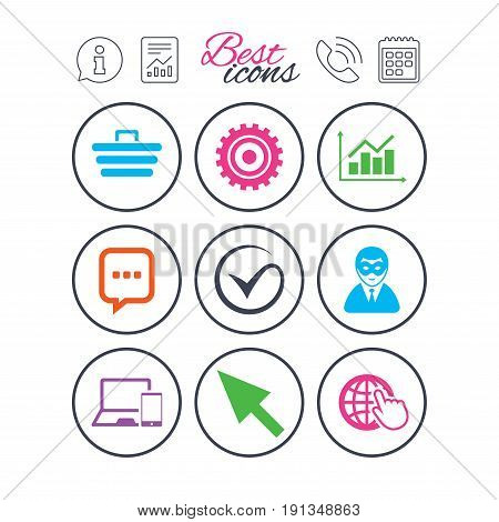 Information, report and calendar signs. Internet, seo icons. Tick, online shopping and chart signs. Anonymous user, mobile devices and chat symbols. Phone call symbol. Classic simple flat web icons