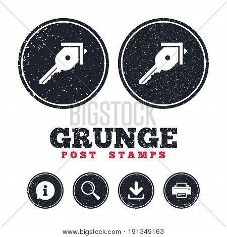 Grunge post stamps. Key from the house sign icon. Unlock tool symbol. Information, download and printer signs. Aged texture web buttons. Vector
