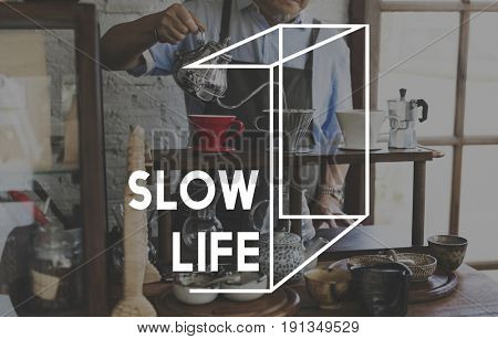 Coffee Mania Slow Life Relaxation Word Graphic