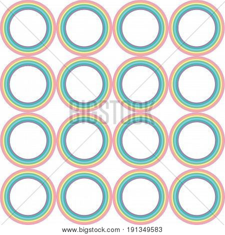 Pastel rainbow circle vector pattern. Geometric psychedelic retro nostalgic ornament for design background print and textile.