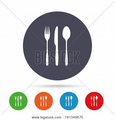 Fork, knife, tablespoon sign icon. Cutlery collection set symbol. Round colourful buttons with flat icons. Vector