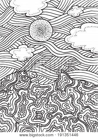 Summer sea and sky with clouds and sun. Vector hand drawn line art for coloring page or book for adults and children. Doodle and zentangle illustration.