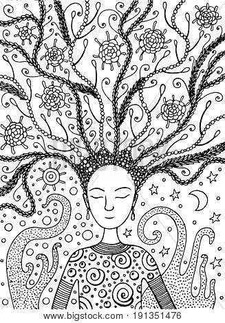 Shaman boho girl with succulent floral hair on sun and moon background. Vector hand drawn black and white coloring page for adult and kids coloring book with fairy tales.