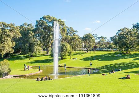 KINGS PARK, WESTERN AUSTRALIA - MAY 28 2017: The Pioneer Women's Memorial is located in the Western Australian Botanic Garden within Kings Park, Perth, Western Australia. It comprises a lake sculpture and fountain.
