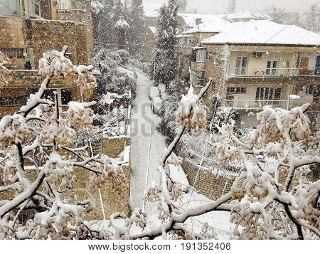 Rare Snow Storm in Jerusalem. Rehavia Neighborhood, Jerusalem, Israel, Winter 2013.