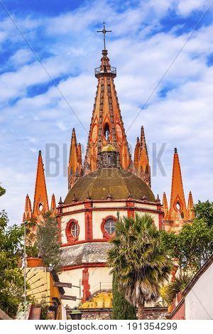 Aldama Street Parroquia Archangel church Dome Steeple San Miguel de Allende Mexico. Parroaguia created in 1600s.