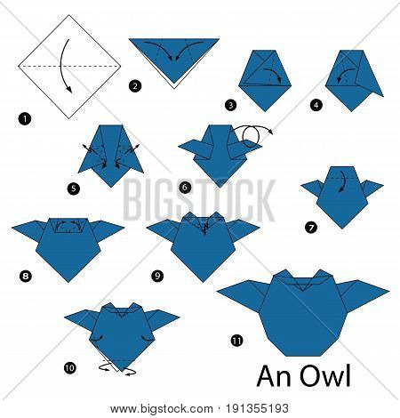 step by step instructions how to make origami An Owl.
