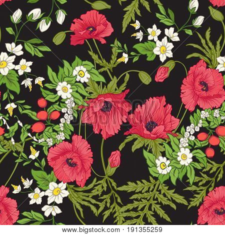 Seamless pattern with poppy flowers, daffodils, anemones, violets in botanical vintage style. On black background. Stock line vector illustration.