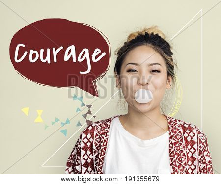 Girl with bubble gum and courage speech bubble word