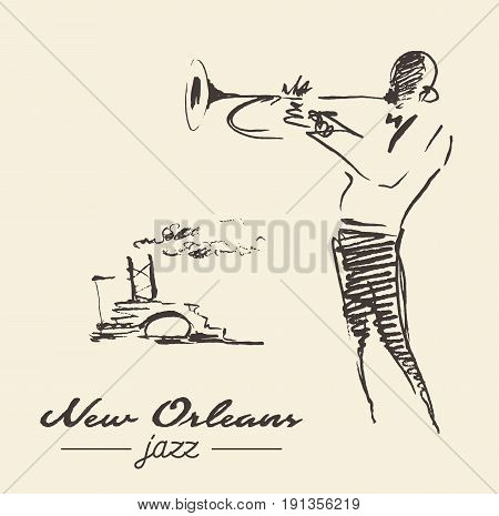 New Orleans jazz poster. Man playing the trumpet with steamship on back, vintage hand drawn illustration