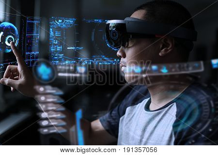 Men steps into virtual reality world with hololens