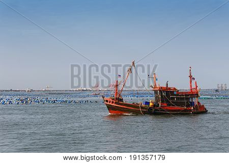 Thai trawler fishing boat in the seaConcept of tool aquatic capture.
