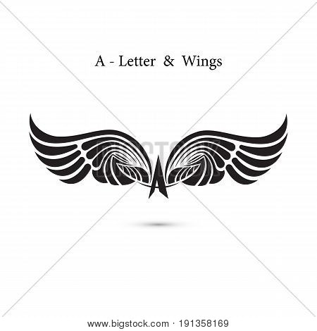 A-letter sign and angel wings.Monogram wing logo mockup.Classic emblem.Elegant dynamic alphabet letters with wings.Creative design element.Corporate branding identity.Flat web design wings icon.Vector illustration.