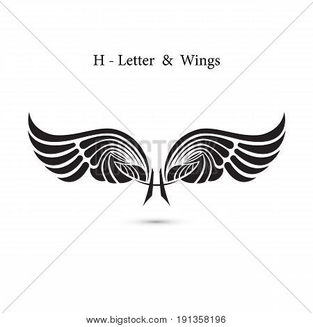 H-letter sign and angel wings.Monogram wing logo mockup.Classic emblem.Elegant dynamic alphabet letters with wings.Creative design element.Corporate branding identity.Flat web design wings icon.Vector illustration.