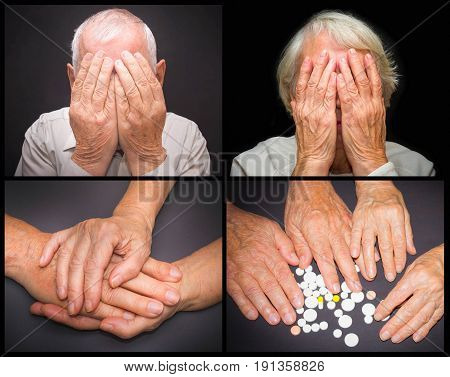 The old female and male hands with pills on black background. Collage about pain