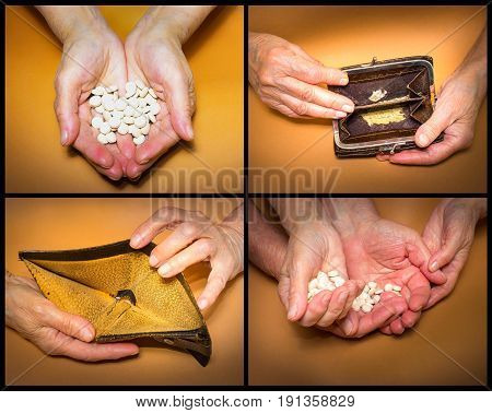 The old female and male hands with pills on brown background
