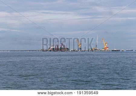 Deep sea port at sea in Chonburi Thailand.