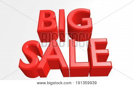 3D render of big sale. word big sale on white. big sale promotion concept sign.