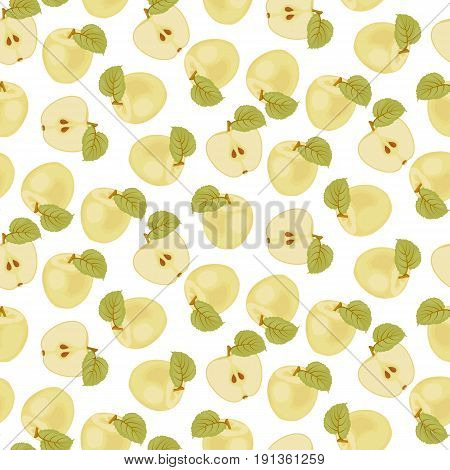 A ripe Apple. Seamless fabric. green leaf. Yellow liquid Apple. Half of an Apple. Stock vector.