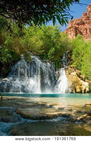 Navajo Falls Waterfall in Havasu Canyon Arizona