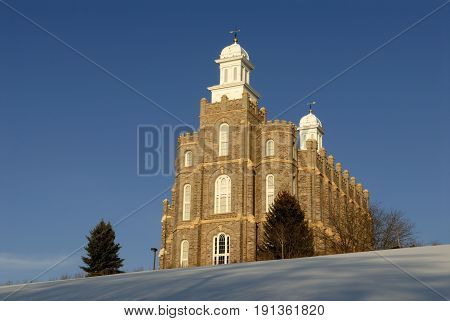 The Logan Temple of the Church of Jesus Christ of Latter-day Saints is located in Logan Utah. This temple was started in 1877 and was completed in 1884.