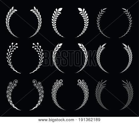 Set of silhouette circular laurel foliate wreath. Vector illustration.