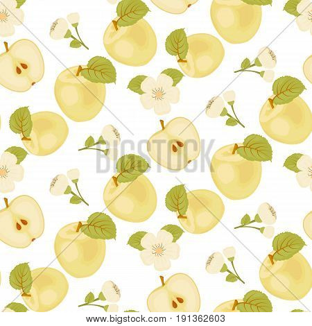 A Ripe Apple. Seamless fabric. green leaf. Apple blossom. Yellow Apple. Half Of The Apple. Stock vector.