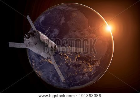 Cargo Spacecraft - The Automated Transfer Vehicle Over The Planet Earth.