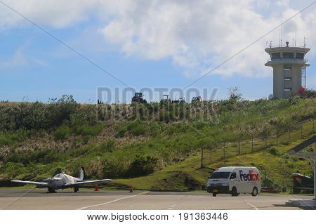 TRUE BLUE, GRENADA - JUNE 13, 2017: Air control tower at Maurice Bishop International Airport in Grenada