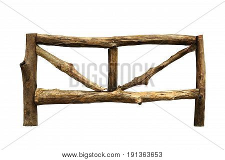 Wooden fence (with clipping path) isolated on white background