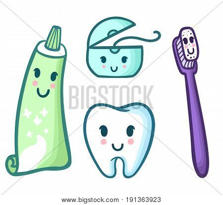 Vector set of cartoon toothpaste, toothbrush, floss and tooth. Funny characters kid's dental hygiene