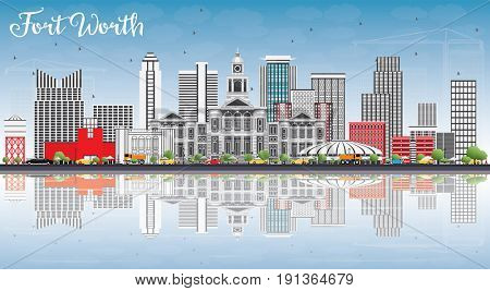 Fort Worth Skyline with Gray Buildings, Blue Sky and Reflections. Business Travel and Tourism Concept with Modern Architecture. Image for Presentation Banner Placard and Web Site.