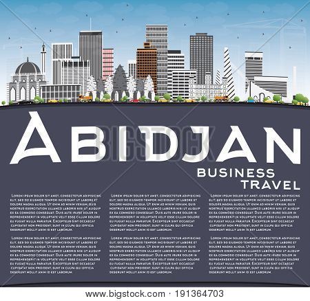 Abidjan Skyline with Gray Buildings, Blue Sky and Copy Space. Business Travel and Tourism Concept with Modern Architecture. Image for Presentation Banner Placard and Web Site.