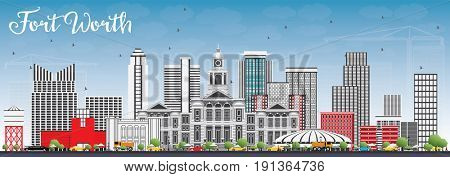 Fort Worth Skyline with Gray Buildings and Blue Sky. Business Travel and Tourism Concept with Modern Architecture. Image for Presentation Banner Placard and Web Site.
