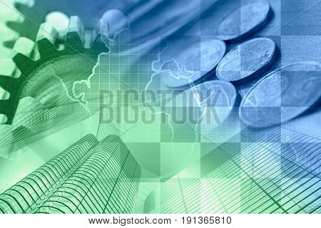 Business background with money calculator and pen in greens and blues.