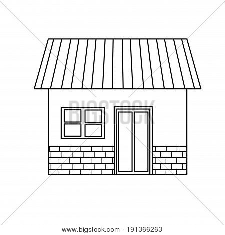 house exterior door window brick residentail icon vector illustration