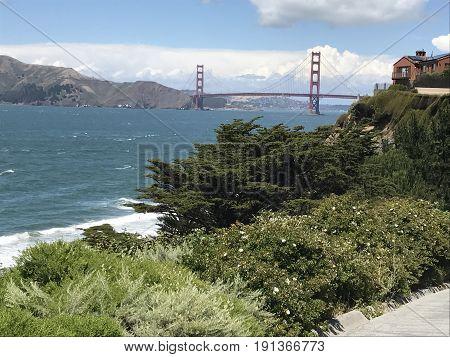 The iconic Golden Gate Bridge in San Francisco, California.