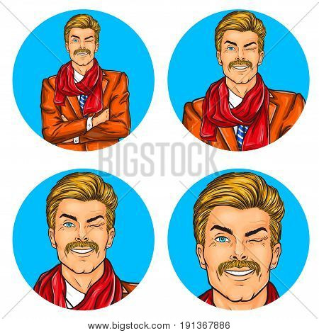 Vector illustration, mens pop art round avatar icon for users of social networking, blogs. Confident hipster man winked with his arms crossed over his chest