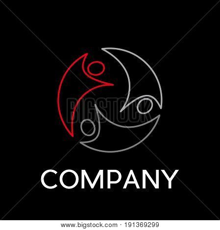 Vector sign abstract teamwork in linear style on black background
