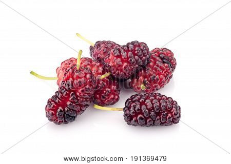 Mulberry fruits isolated on white background. Vegetarian food.